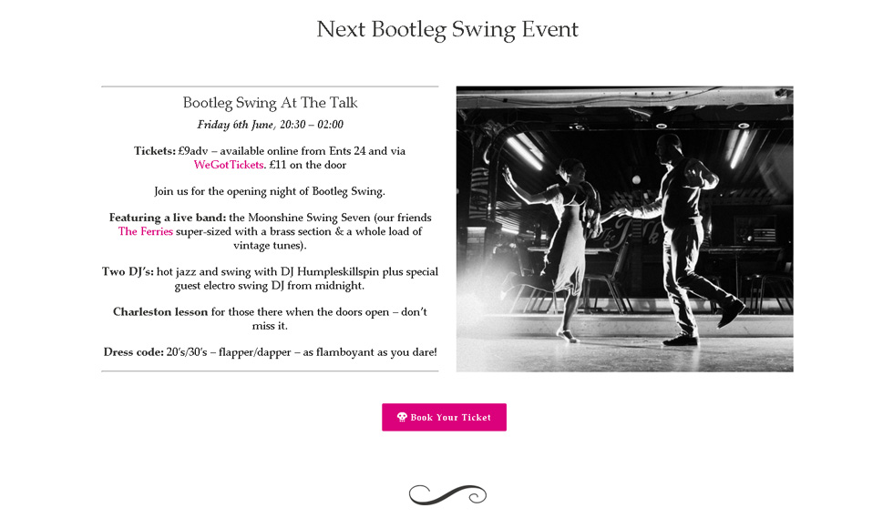 Bootleg Swing website image