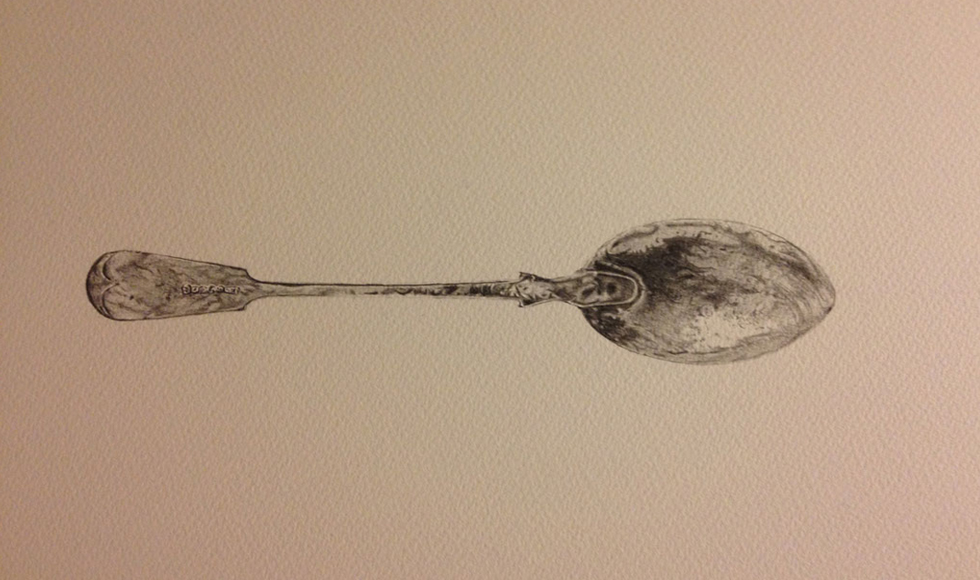 Back of Spoon Pencil Drawing